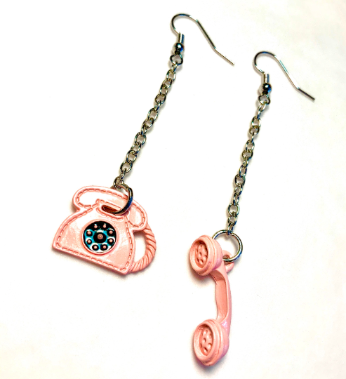 Image of Pink Telephone Chain Earrings