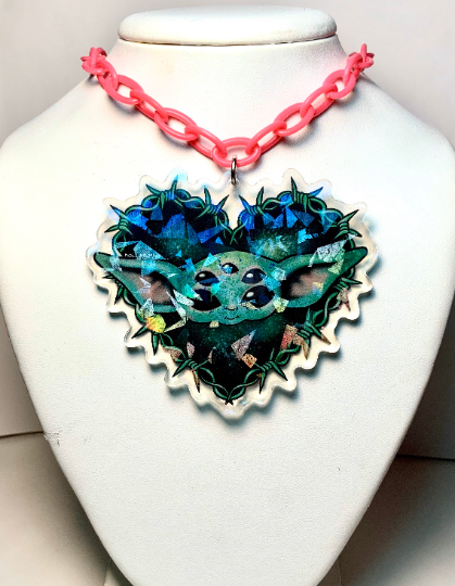 Image of Baby Yoda Heart Barbed Wire Necklace
