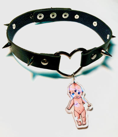 Image of Kewpie Black Faux Leather Heart Ring Choker