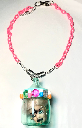 Image of Green Barbie Head Baby Bottle Necklace