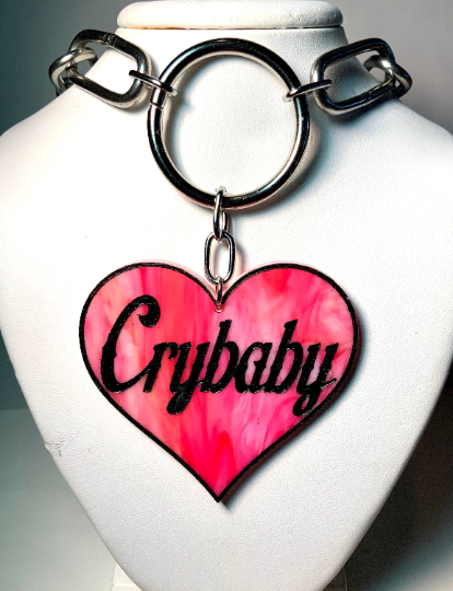 Image of CRYBABY Heart Lettering O-Ring Necklace