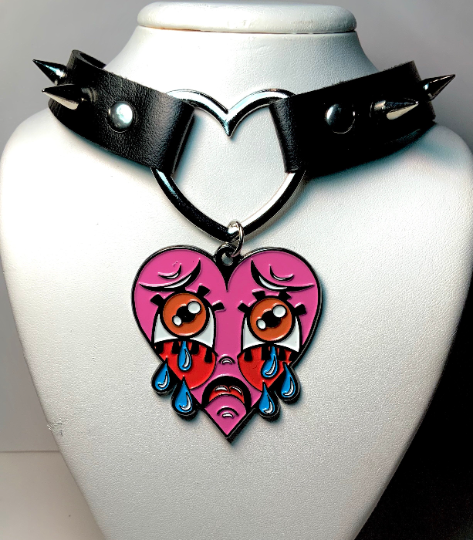 Image of Crybaby Heart Ring Studded Choker