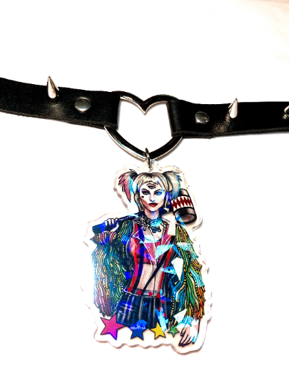 Image of Harley Quinn Birds Of Prey Heart Ring Choker