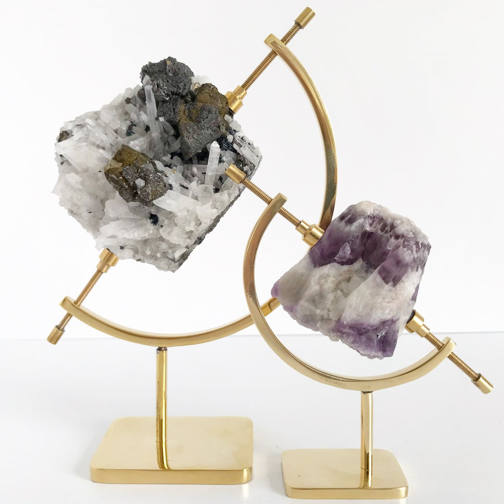 Image of Chevron Amethyst no.33 + Brass Arc Stand