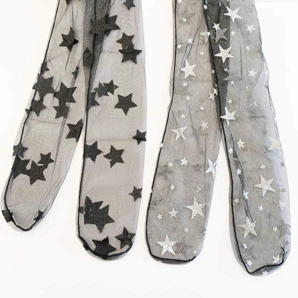 Image of Sheer Slouch Socks with Glitter Stars