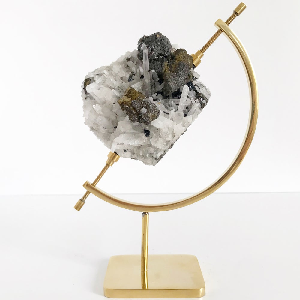 Image of Quartz/Galena/Chalcopyrite no.37 + Brass Arc Stand