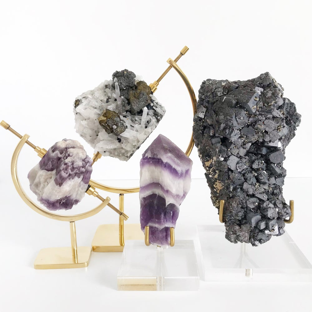 Image of Galena/Pyrite no.41 + Lucite and Brass Stand