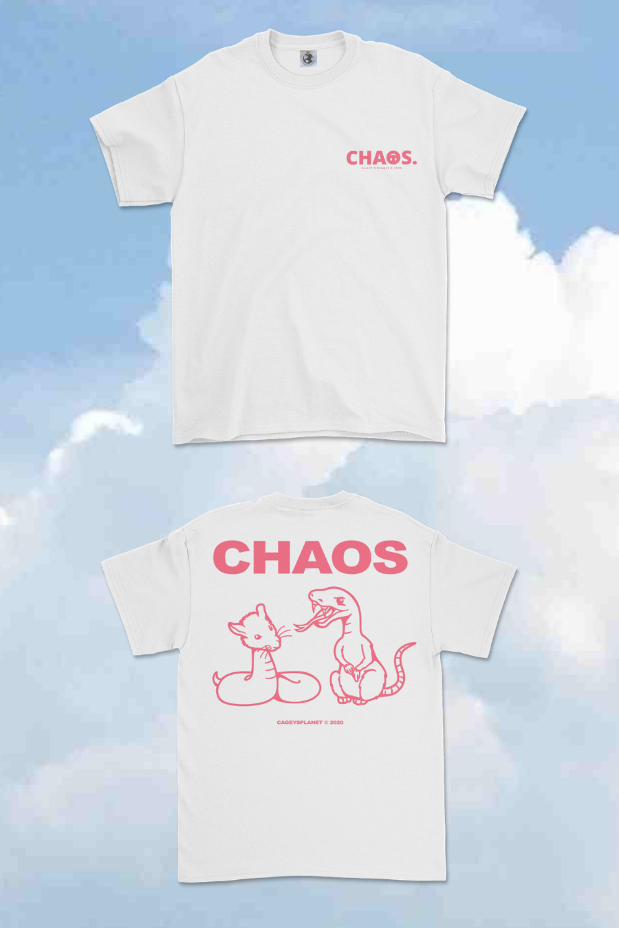 Image of CHA☺S CP07 TEE (WHITE X WATERMELON)