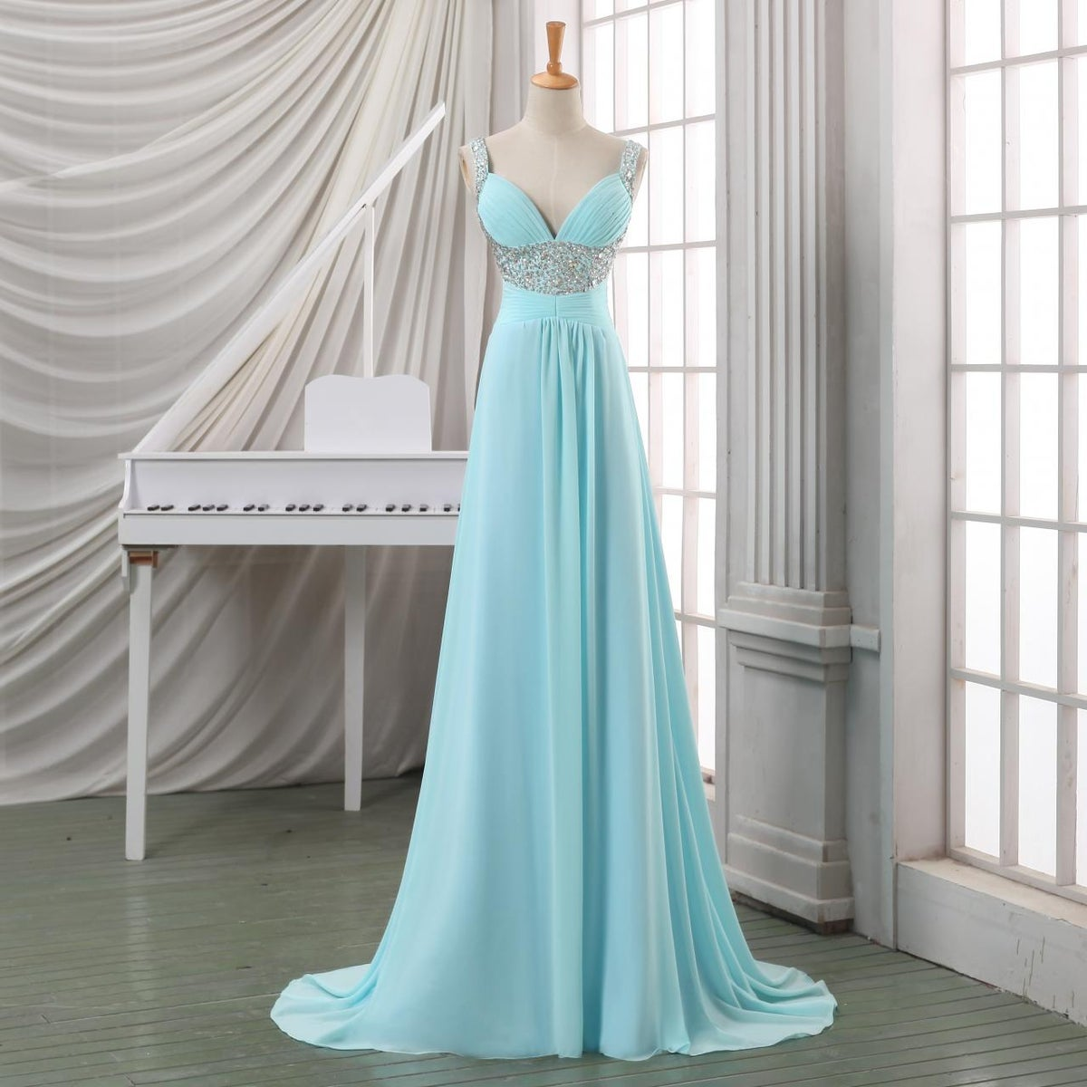 Elegant Blue Beaded Straps Chiffon Long Party Dress, Blue Prom Dress