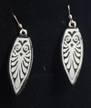 Bright gold  or silver dichroic glass leaf earrings