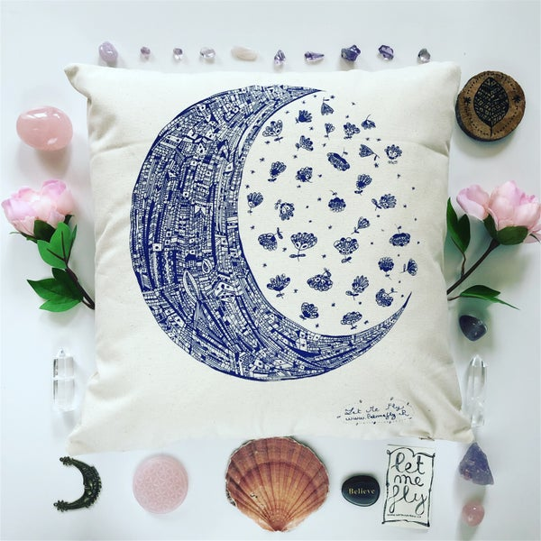 Image of Coussin *Moon & her flowers* 40x40cm