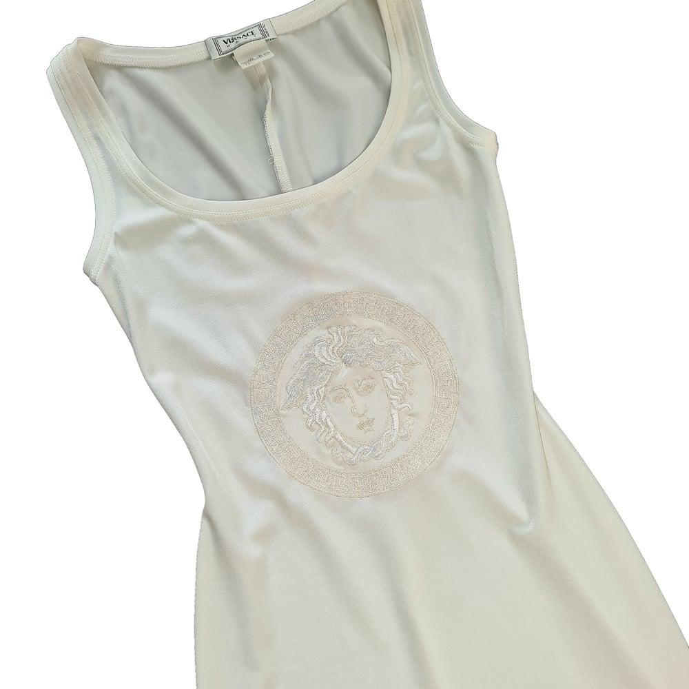 Image of Gianni Versace Ivory Bodycon Medusa Logo Dress