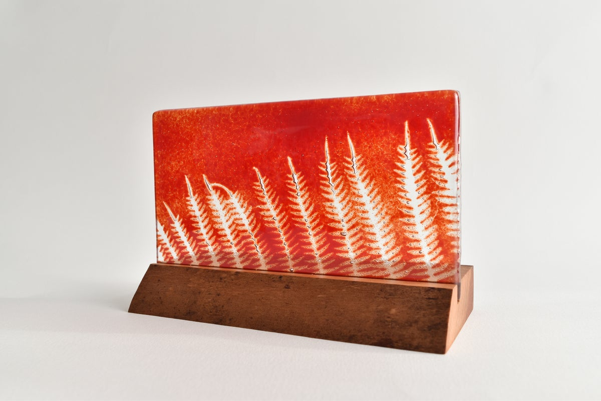 Image of Cherry Red Marching Ferns Glass Panel