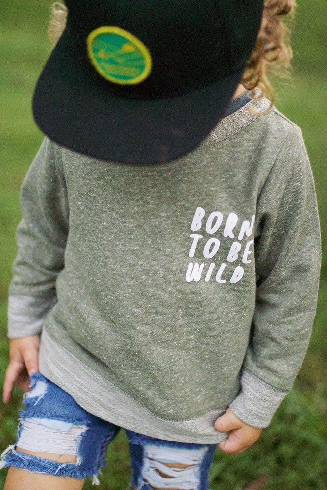 Image of BORN TO BE WILD MELANGE PULLOVER (ARMY GREEN)