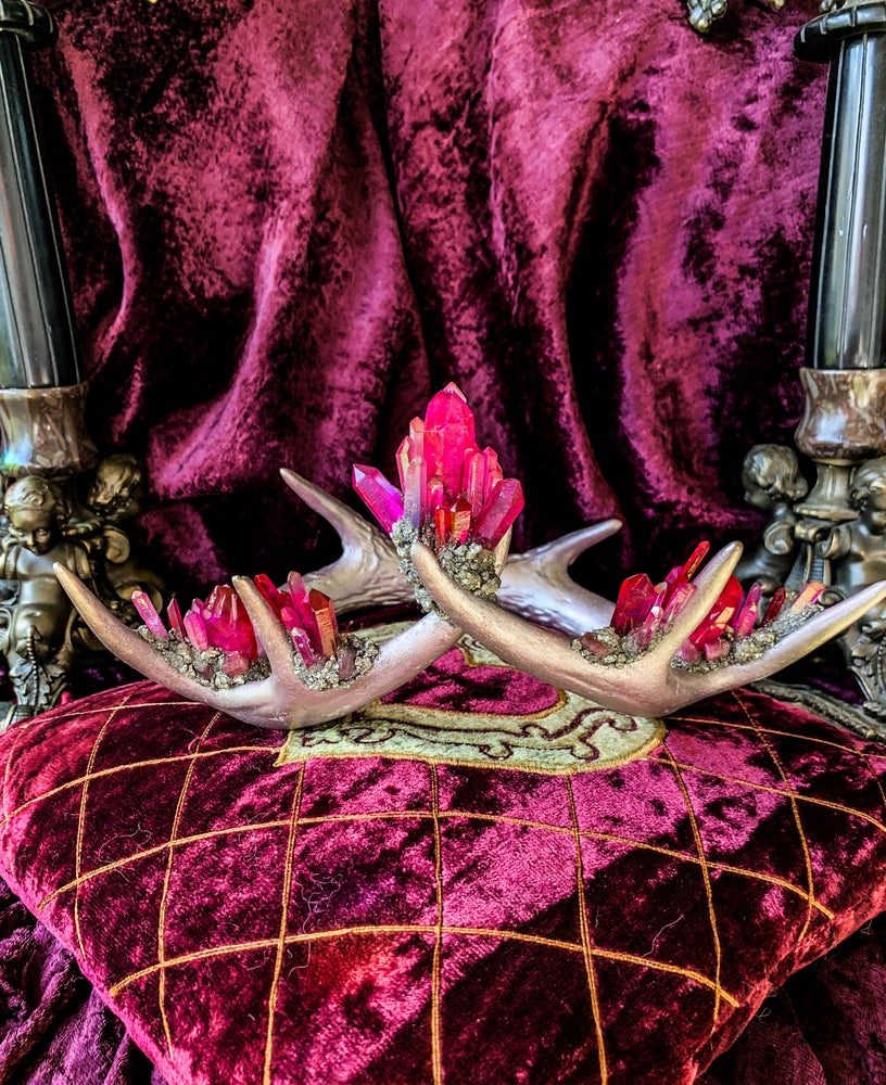 Image of Rose Gold & Pink Aura Quartz Crystallized - Antler Crown