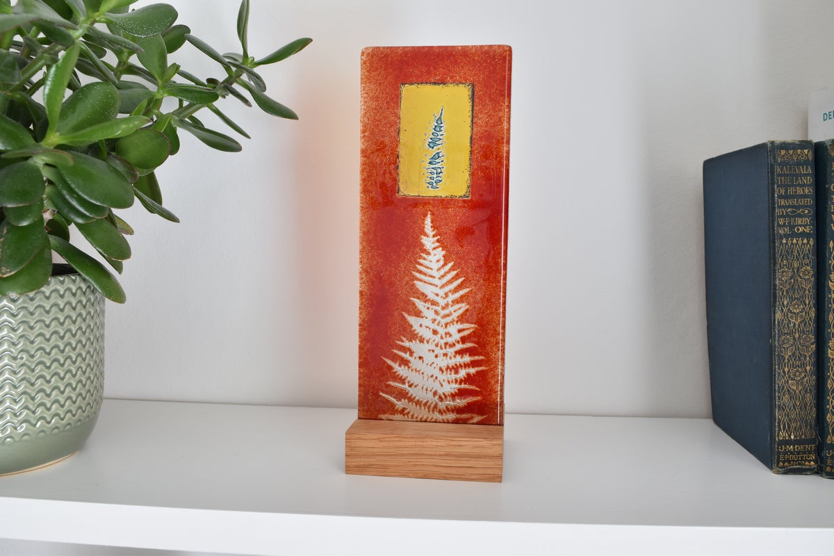 Image of Cherry Red Fern Leaf Golden Window Glass Panel
