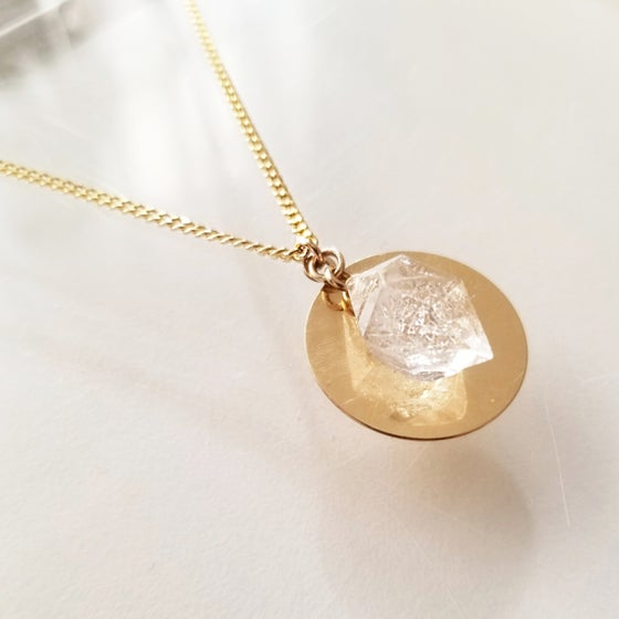 Image of Clear Quartz Disk Necklace