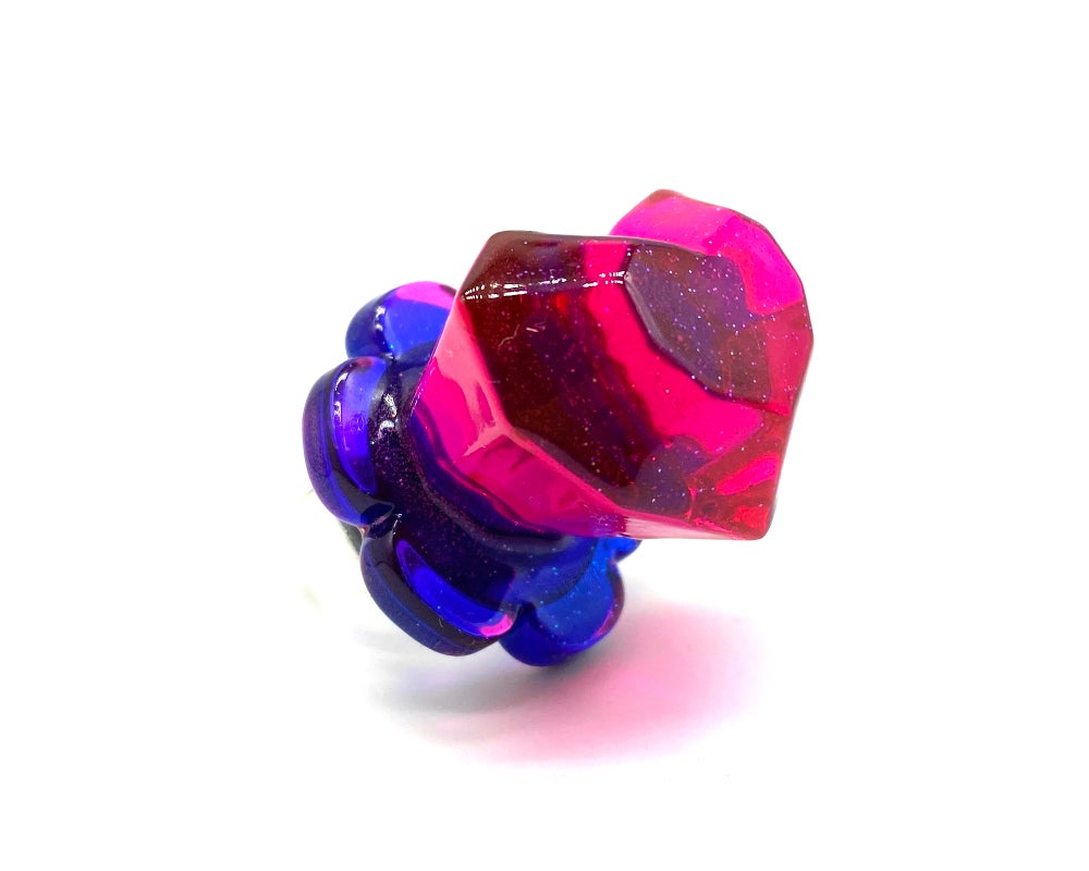 Image of Heart Pop Candy Ring Fuchsia Blue
