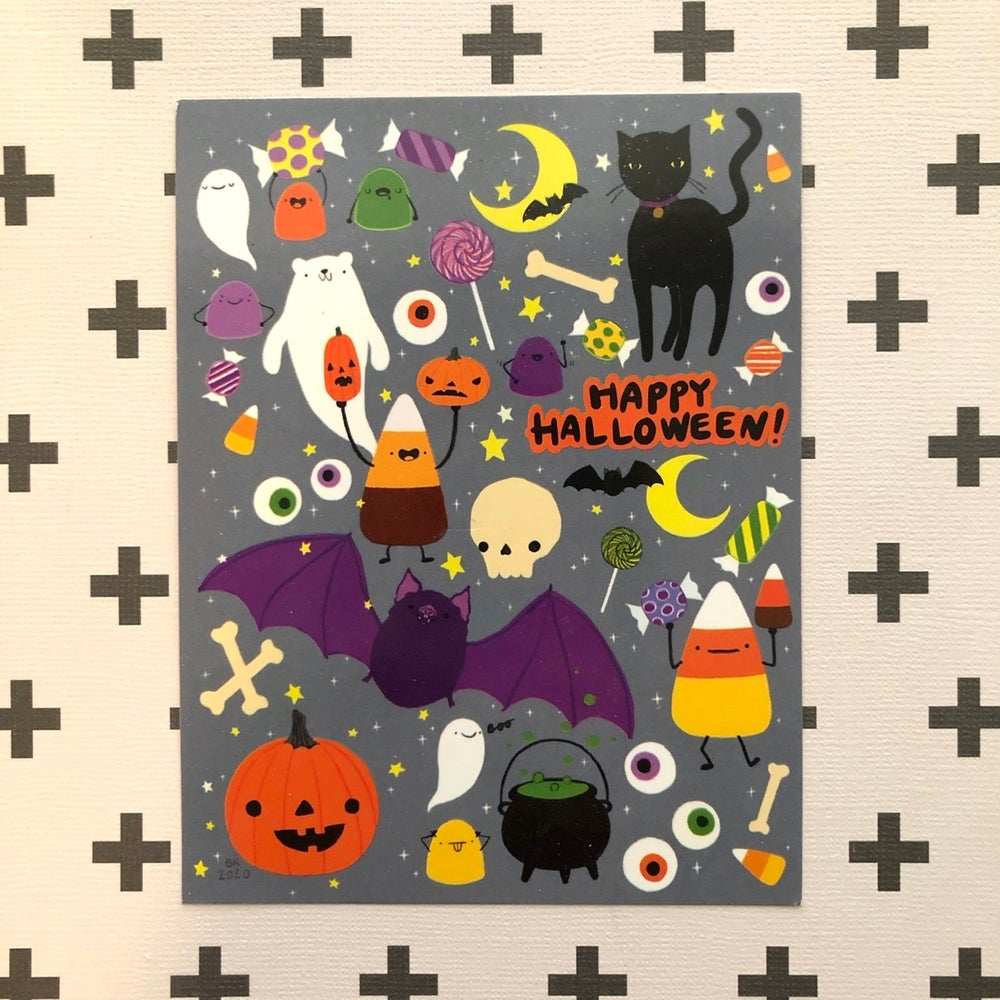 Image of spoopy halloween postcards