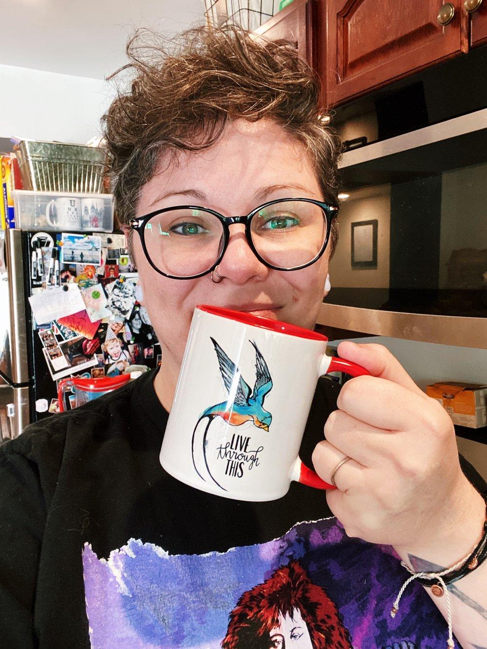 Image of Live Through This Red Logo Mug
