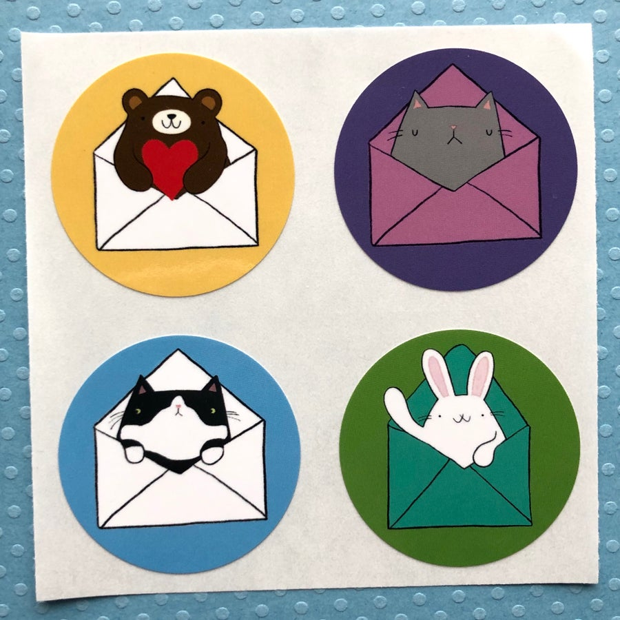 Image of cute animal mail stickers (small pack)