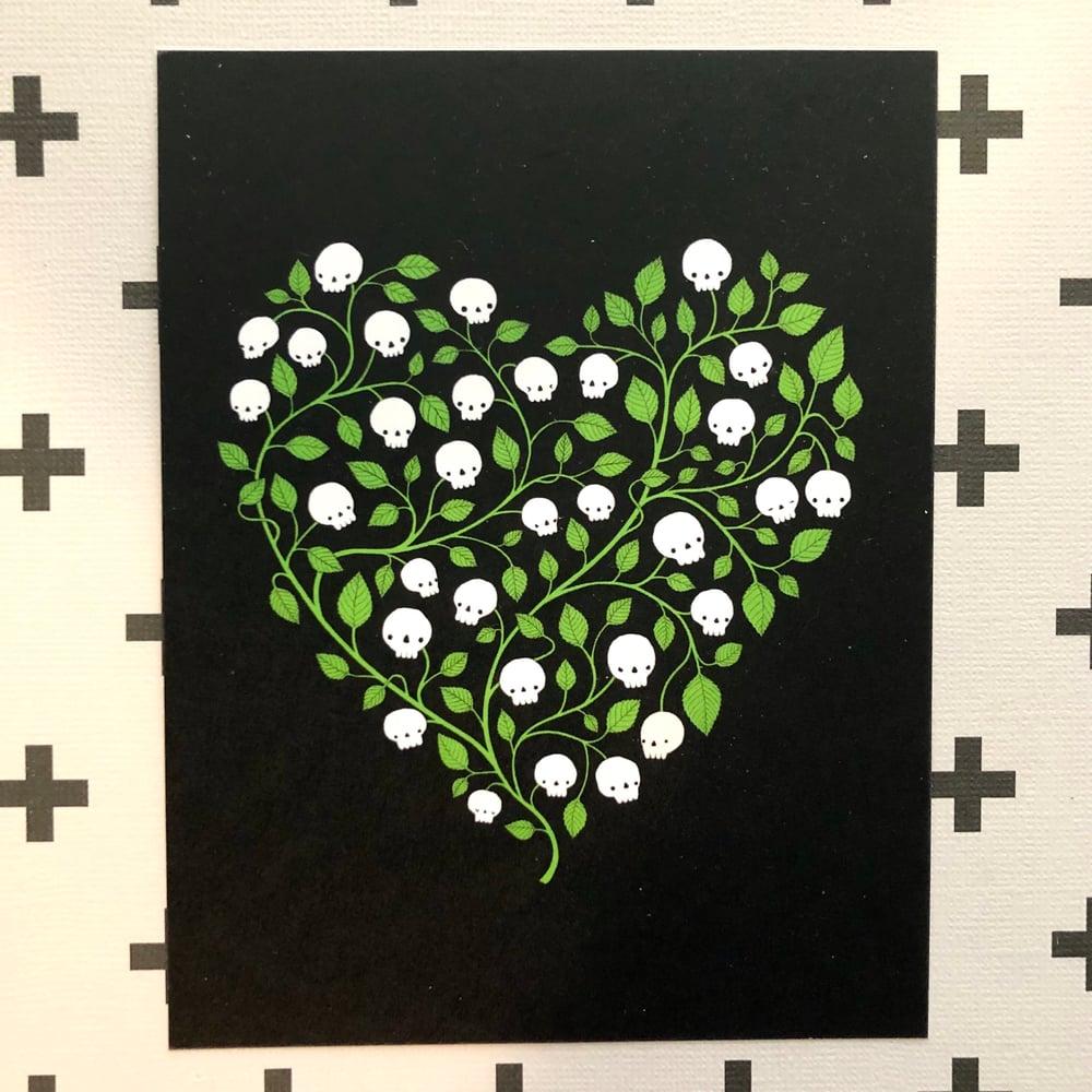 Image of skull heart postcards