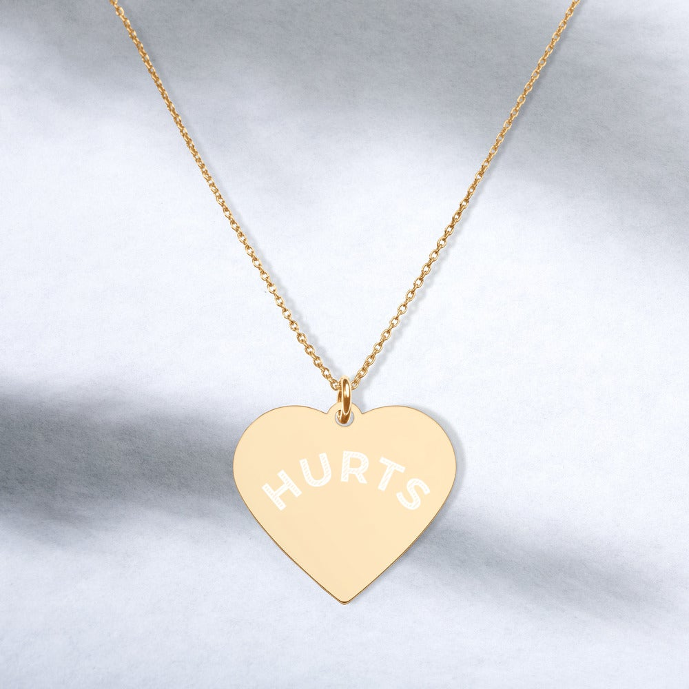 Image of HURTS Engraved Silver Heart Necklace