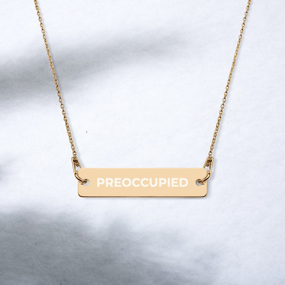 Image of PREOCCUPIED Engraved Silver Bar and Chain Necklace