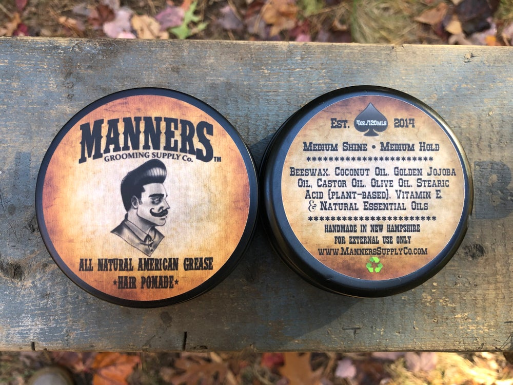 Image of WAX-BASED POMADE (All-Natural) - 4oz Tin
