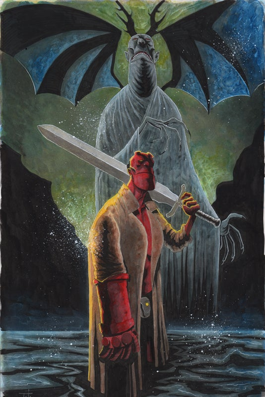 Image of HELLBOY ACRYLIC 11x17 PAINTING
