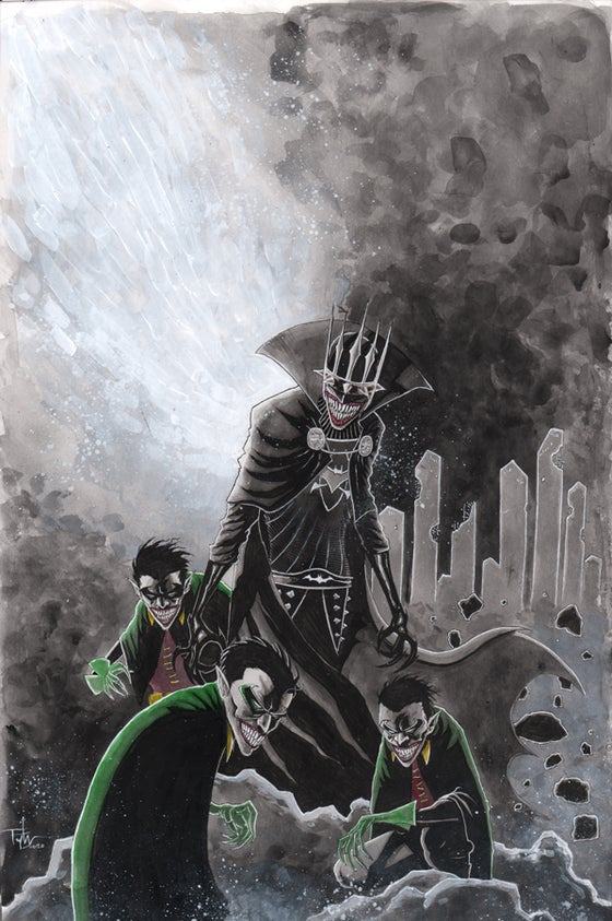 Image of BATMAN WHO LAUGHS 11x17 PAINTING