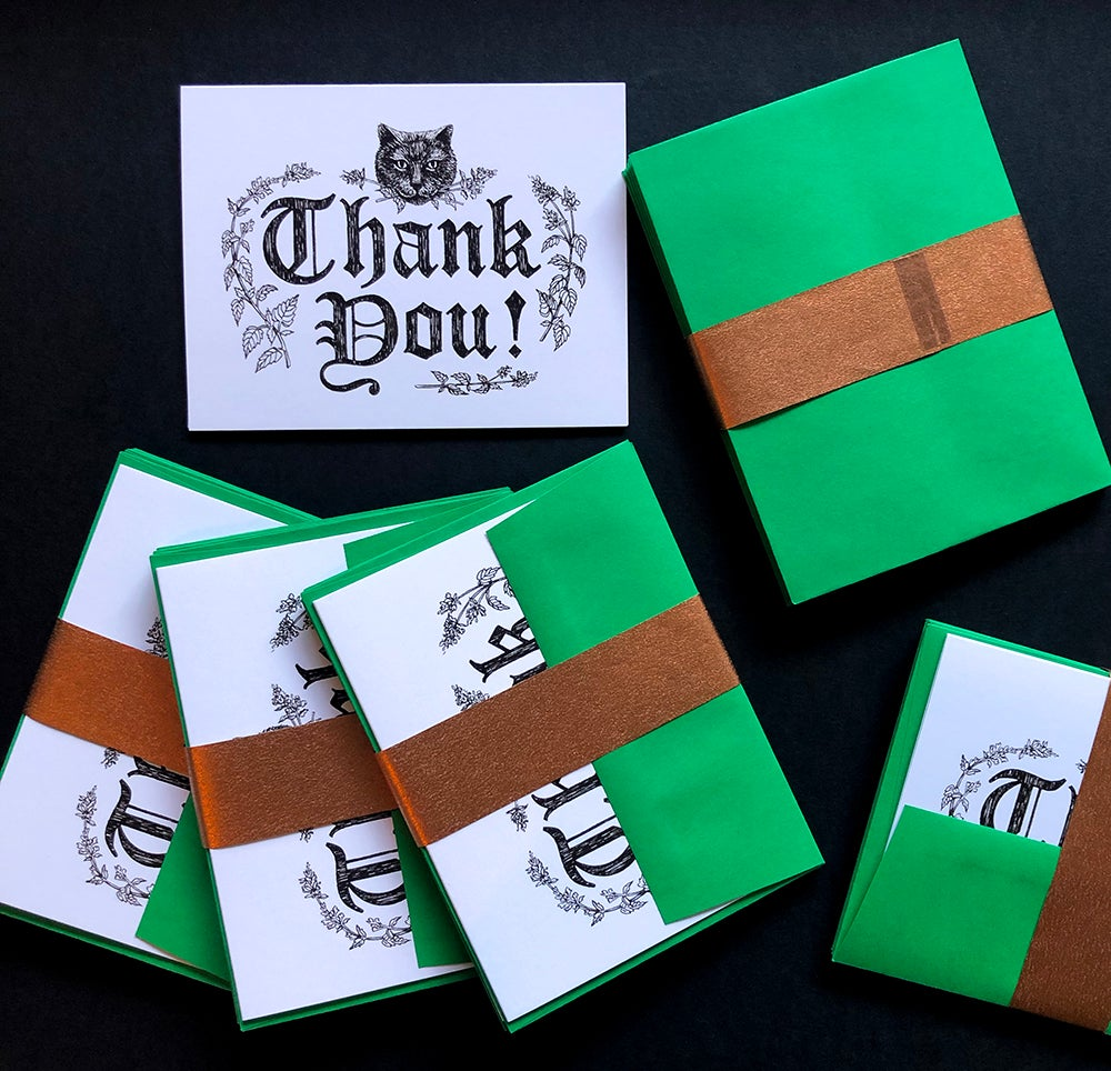 Image of Black Cat Thank You Cards, Set of 6