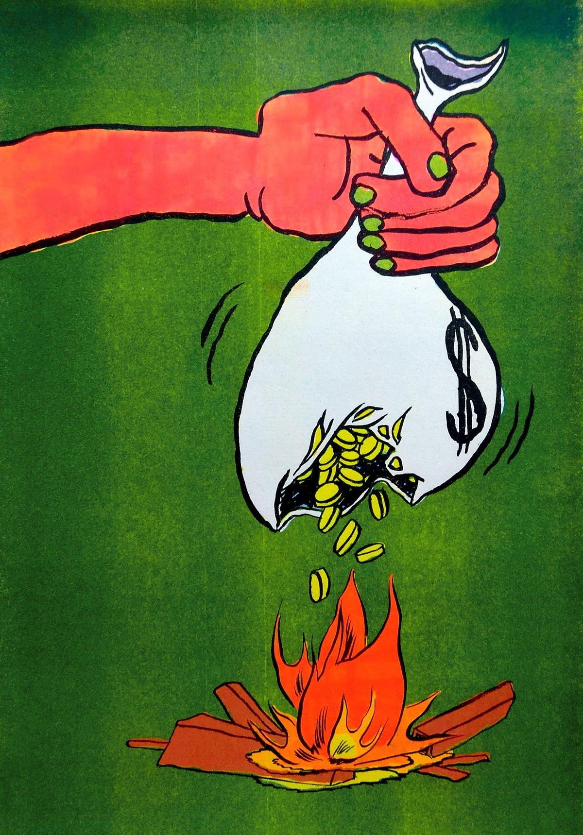 "Image of 💰 🔥 ""Coin Burn"" Four Colour Risograph Print"