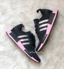 Image of Swarovski Adidas NMD Runner Casual Shoes Core Black/True Pink customized with Swarovski Crystals.