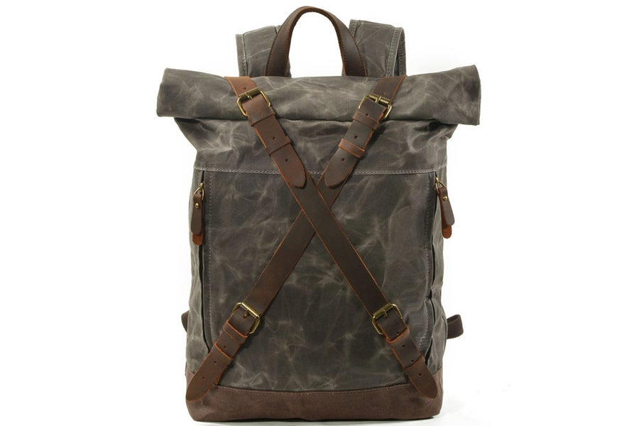 Image of Handmade Waxed Canvas Leather Backpack Rucksack Travel Backpack MC9505