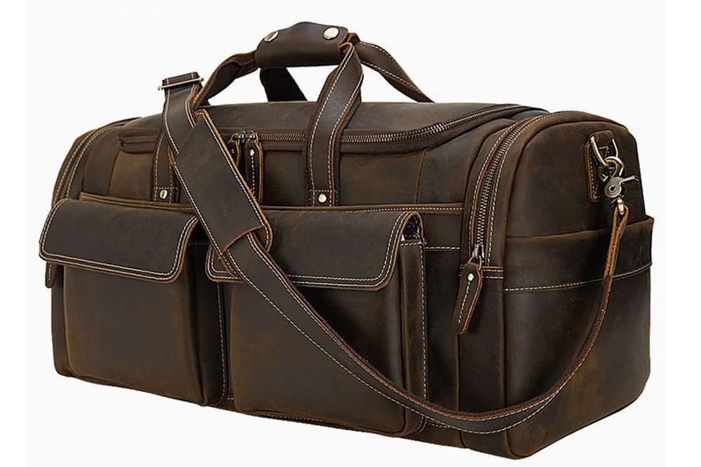 Image of Large Size Full Grain Leather Travel Bag Duffel Bag Weekend Bag CN6650