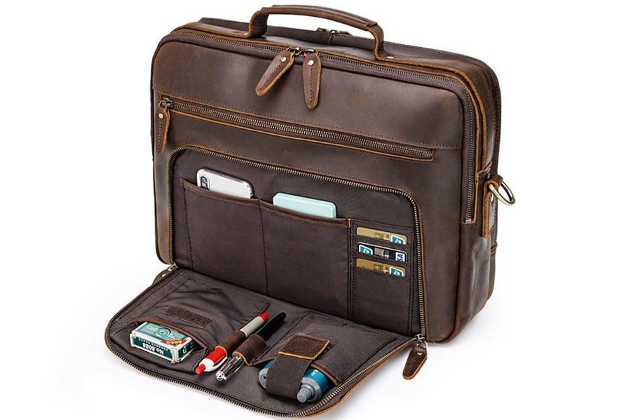 Image of Handmade Full Grain Leather Briefcase, 15.6'' Laptop Bag, Business Handbag CN1488