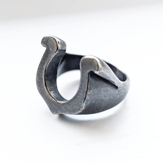 Image of Oxidised Horseshoe Ring