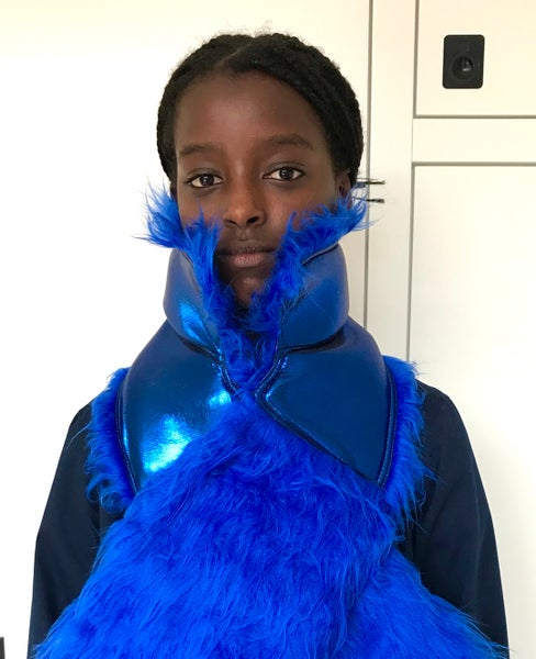 Image of SCARF metallic/fake fur blue   fall/winter 2020-2021