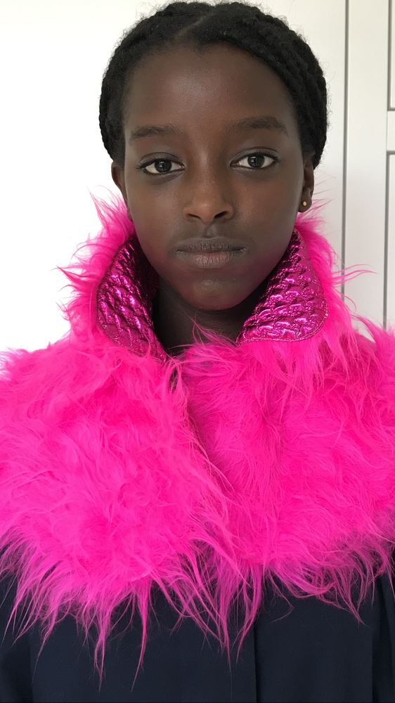 Image of COLLAR SCARVE pink reversible fall/winter 2020-2021