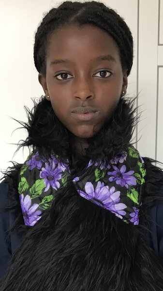 Image of SCARF flowers/fake fur black fall/winter 2020-2021