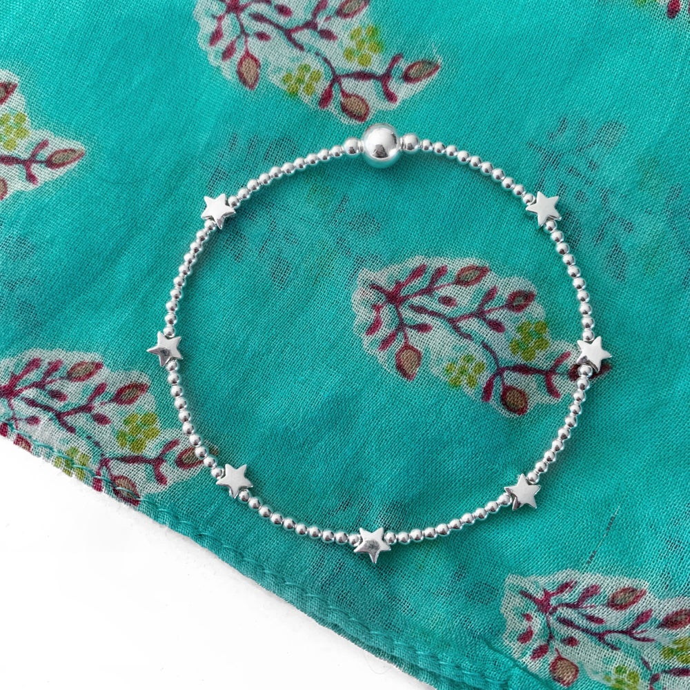 Image of Sterling Silver Star Bead Bracelet