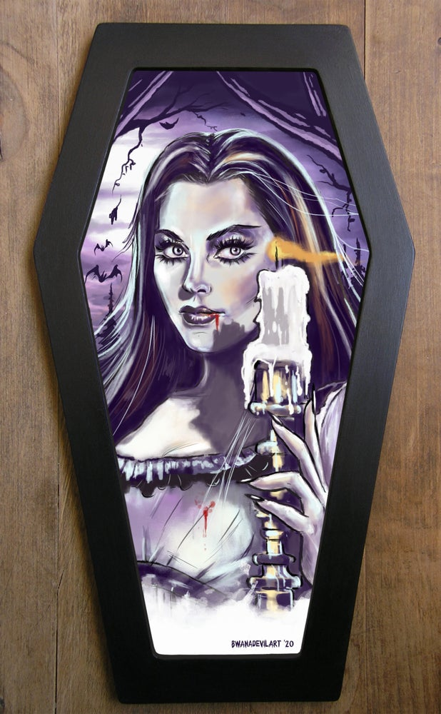 Image of Lily Munster Limited Edition Coffin Framed Art Print