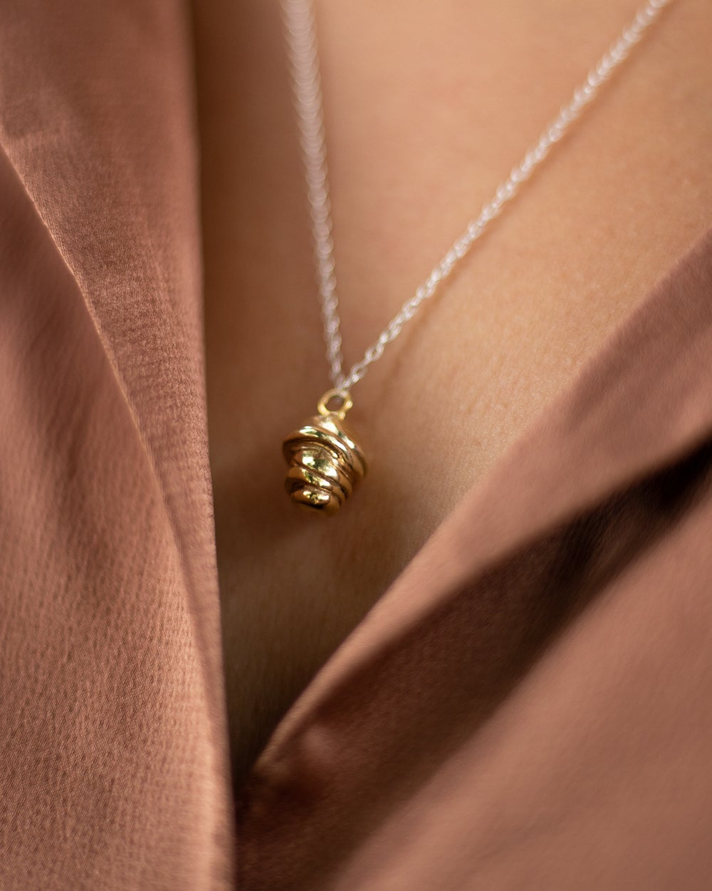 Image of Solid silver acorn necklace