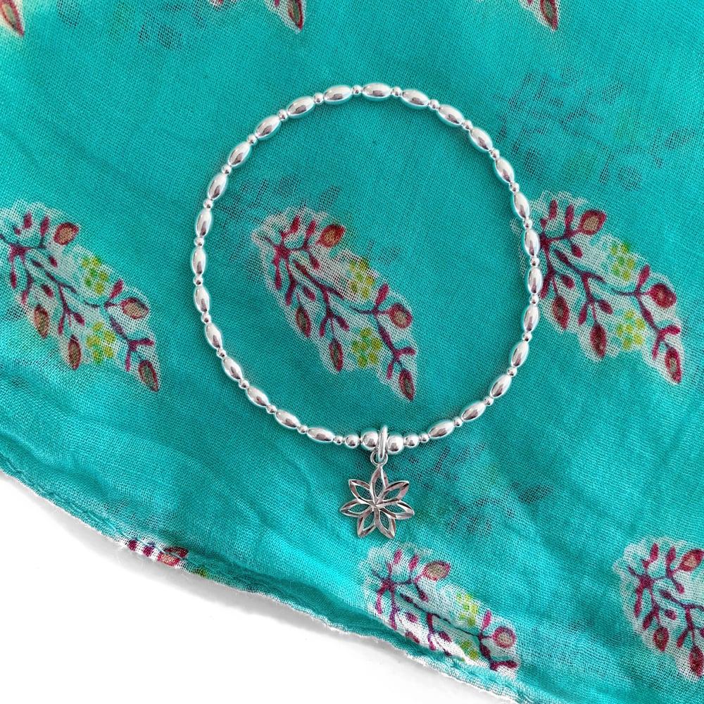Image of Sterling Silver Flower Charm Bracelet