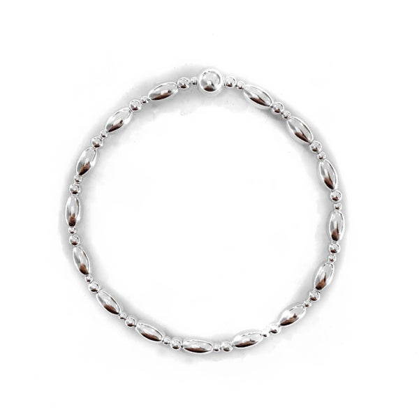 Image of Sterling Silver Oval Bead Stacking Bracelet