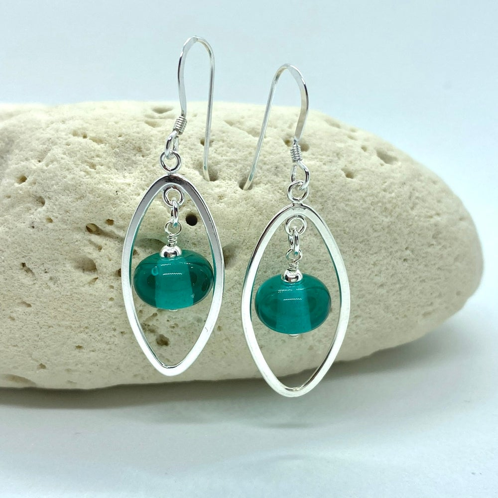 Image of Transparent Teal Oval Earrings