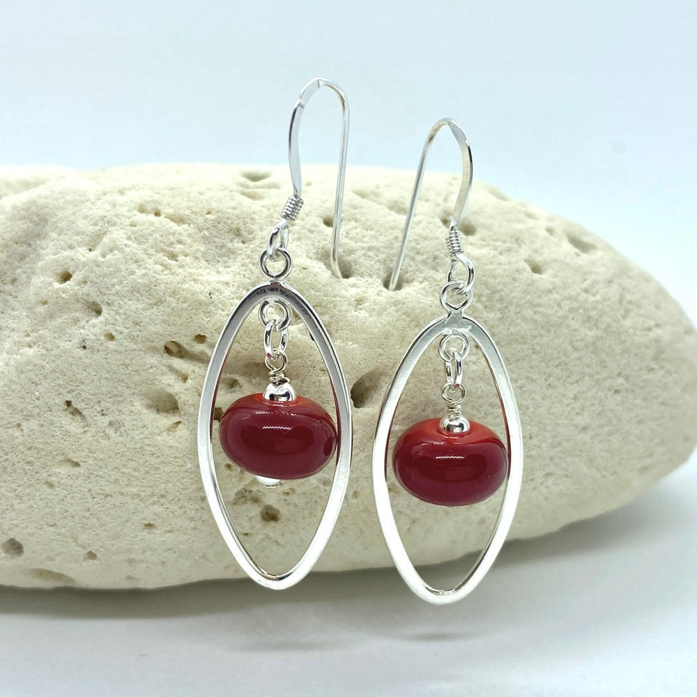 Image of Opaque Red Oval Earrings