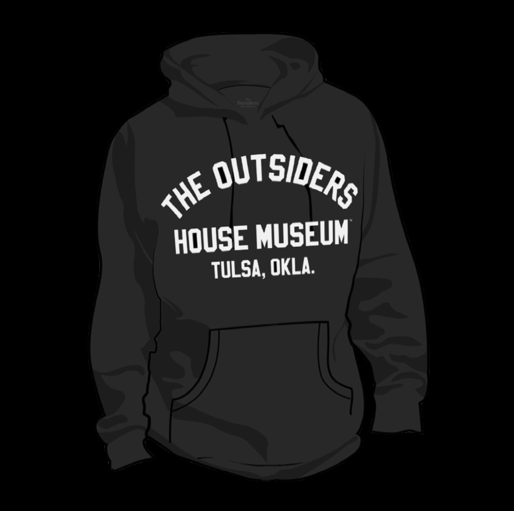 Image of The Outsiders House Museum Black Pullover Hoodie.