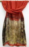 Tangerine Garden - ecoprint and plant dyed silk scarf